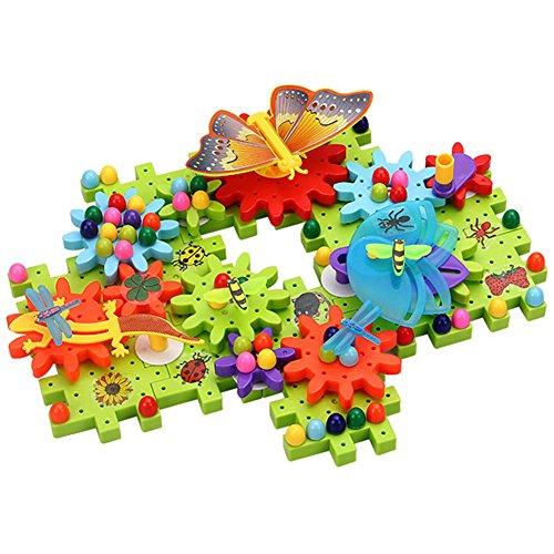 Ireav 100pcs Children's Plastic Building Blocks Toys Kids Garden DIY Creative Educational Toy Gear Blocks Toys by Ireav
