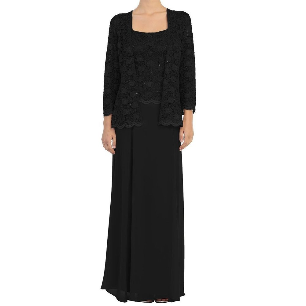 Black H.S.D Mother of The Bride Dress Lace Long Formal Gowns with Jacket
