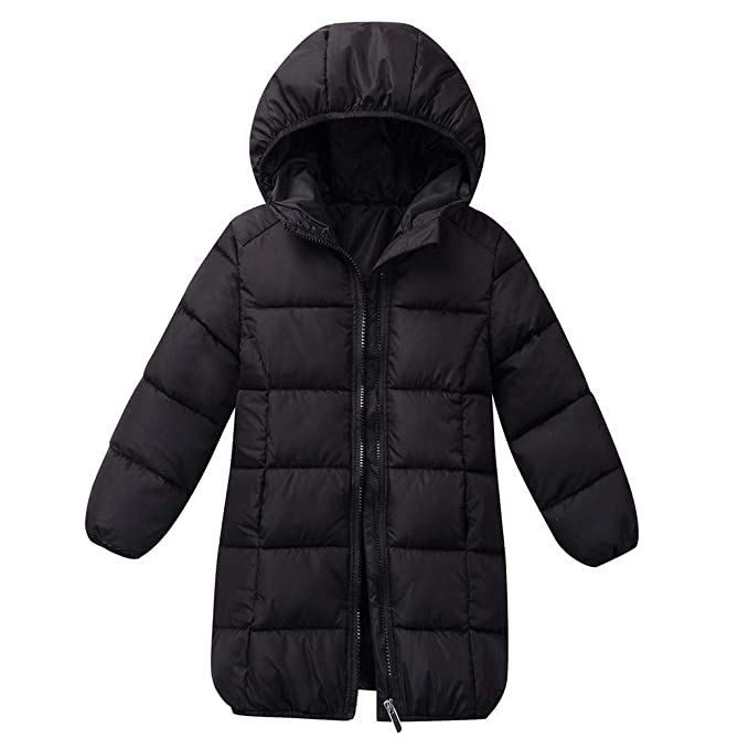 22dabf433 WARMSHOP Boys Girls Long Down Jacket,Lightweight Outwear Winter Thick Warm  with Zip Solid Hooded