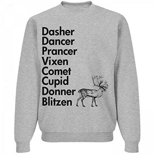 Reindeer Names Listed Out: Unisex Jerzees Crewneck Sweats...