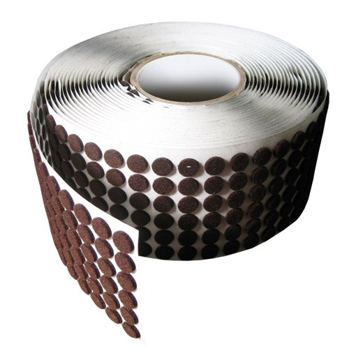 Brown Adhesive Kiss Cut Felt Button Rolls - Medium Duty 1/8'' Thick, 1/2'' Dia, 1425 Pcs
