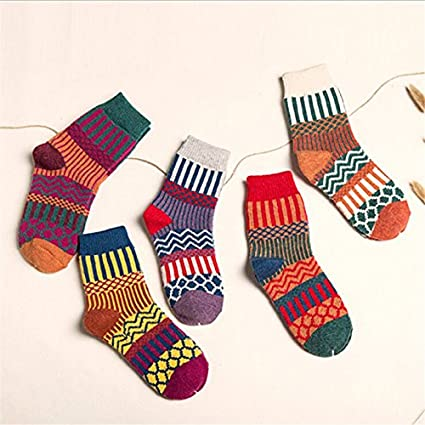 1d778b17c0152 Image Unavailable. Image not available for. Color: YANSHG 5 Pairs Women  Wool Cashmere Warm Sock Soft Thick Casual Multicolor Retro ...