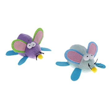 MagiDeal 2Pcs Pull String Cat Mouse Toy Play Pet Vibrating Moving Mouse Fun Kitten Playful Random Color