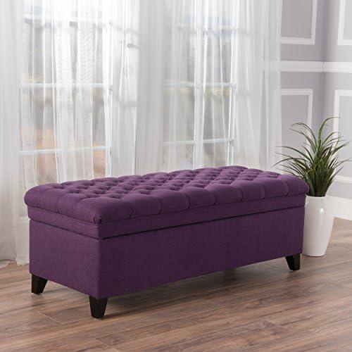 Sheffield Purple Tufted Fabric Storage Ottoman