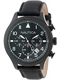 N18685G BFD 105 Stainless Steel Watch with Black Cloth Band · Nautica