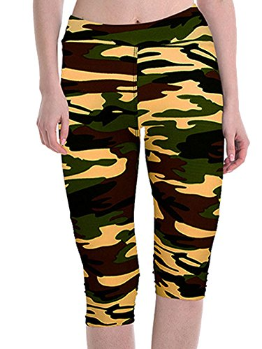 April Girl Womens Tartan Active Workout Capri Leggings Outfit Stretch Tights
