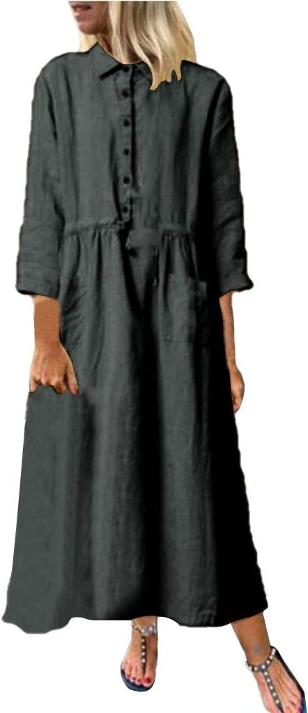 DENGZI Vestido de Lino y algodón para Mujer, Manga Larga, con ...