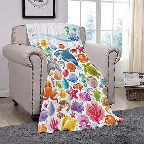(SCOCICI Super Soft Throw Blanket/Tropical Animals,Diving Sea Animals Collection with Marine Objects Whale Corals Underwater,Multicolor/for Couch Bed Sofa for Adults Teen Girls Boys)