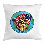 US Navy Throw Pillow Cushion Cover, Flag of a Superpower with an Anchor Motif on a Globe Patriotic Old Glory Design, Decorative Square Accent Pillow Case, 18 X 18 Inches, Multicolor