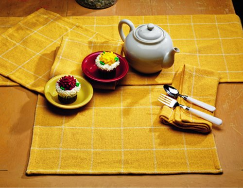 IHF Burlap Check Yellow Design Table Runner 100% Pure Cotton Fabric 13 Inch x 54 Inch Kitchen Dining Table Runners