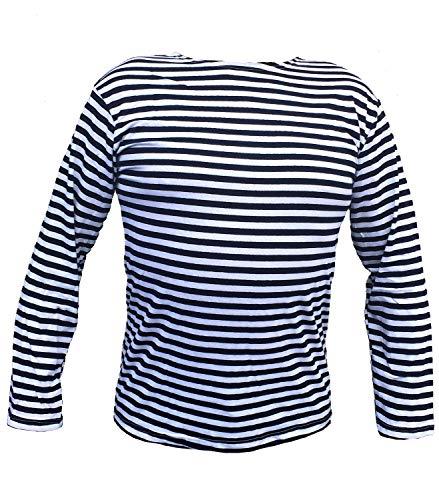 Striped Long Sleeve T-Shirt Summer Uniform Russian USSR Soviet Military Army Marines Navy Airborne (Navy Blue, XS) ()