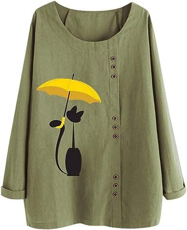 Mujer Casual Camiseta de Manga Larga Top de algodón y Lino cómodo y Suelto Camiseta Creativo Joker Blusa para Mujer Color sólido Casual Blusa Camiseta con Estampado de Gato: Amazon.es: Ropa y