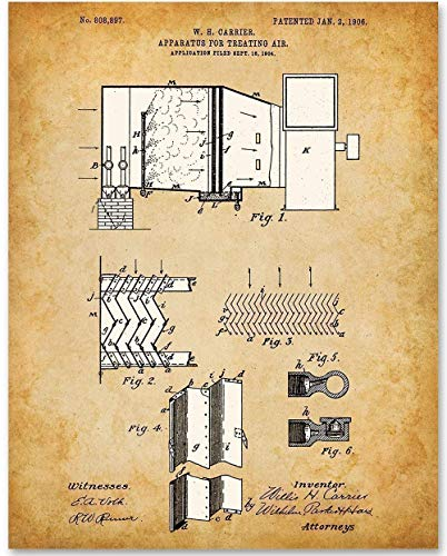 Carrier Air Conditioning - 11x14 Unframed Patent Print - Makes a Great Gift Under $15 for HVAC Technicians