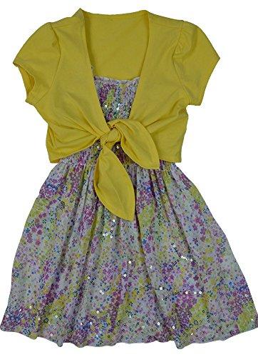 LnLClothing Girl's 3 Piece Short Sleeve Dress and White Leggings, Yellow, M(10/12)
