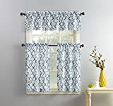 No. 918 Barker Geometric Print Microfiber 3-Piece Kitchen Curtain Set, 54' x 36', White