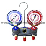 Kyпить Yellow Jacket 49868 Titan 2-Valve Test and Charging Manifold degrees F, psi Scale, R-22/404A/410A Refrigerant, Red/Blue Gauges на Amazon.com