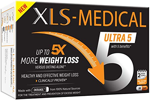 XLS-Medical Ultra 5 Weight Loss Capsules – Reduces Calories Absorbed from Dietary Fats, 84 Capsules, 2 Week Supply