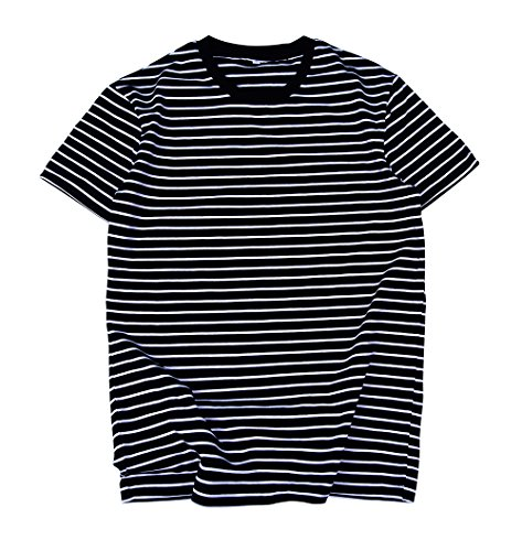 Zengjo Essential Stripes T-Shirts Comfort Short-Sleeve Crew-Neck Striped Vee Tee Top (M, Black & White Stripes)