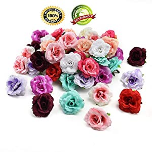 Silk Flowers in Bulk Wholesale Artificial Silk Rose Tea Bud Flowers Head Wedding Decoration DIY Garland Gift Box Scrapbooking Crafts Fake Flowers 30PCS 4CM (Multicolor) 55