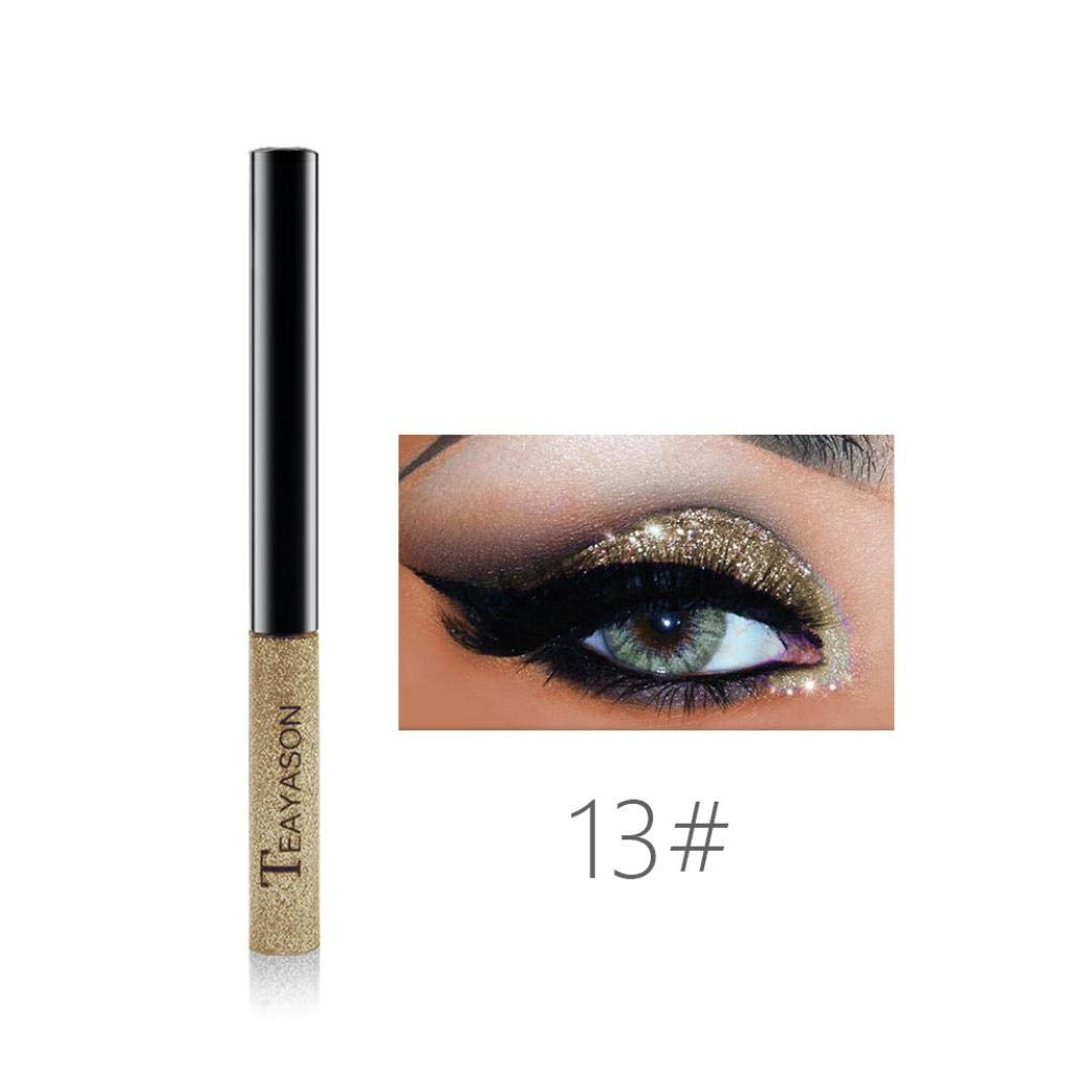 2018 Hot Sale! Glitter Liquid Eyeshadow, Iuhan 15 Colors Liquid Glitter Eyeliner Metallic Shimmer Glitter Eyeshadow Pigment Eyebrown Shimmer Waterproof Face Lips Art for Party Festival Makeup (M)