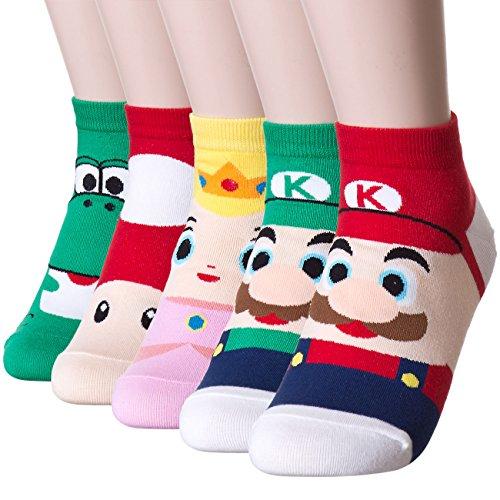 Dani's Choice Famous Japanese Animation Print Crew Socks, Super Mario Bros Socks, One Size US Shoe Size 5-10, (5 - Mario Socks