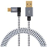 CableCreation 10 Feet Left Angle Micro USB 2.0 Braided Cable, 90 Degree Vertical Left USB 2.0 A Male to Micro USB Male with Aluminium Case,3Meters, Space Gray