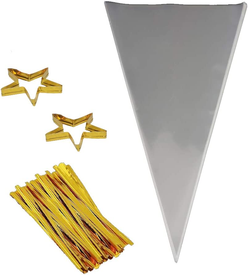 """COOLAKE Clear Cone Bags 100PCS Cellophane Triangle Clear Treat Bags with Gold Twist Ties for Christmas Candy Popcorn Handmade Cookies Sweets Crafts 14.5"""" by 7"""""""