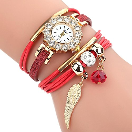 LLguz Women Flower Popular Quartz Watch Luxury Bracelet Elegant Flower Gemstone Wristwatch (Red)