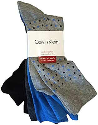 Calvin Klein Men's Dress Socks 4 Pack Grey Black Blue Dot