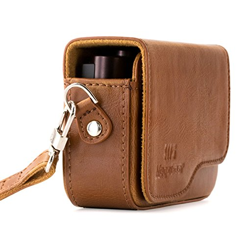 MegaGear MG655 Leather Camera Case with Strap compatible with Canon PowerShot G9 X Mark II, G9 X - Brown (Best Case For Canon G9x)