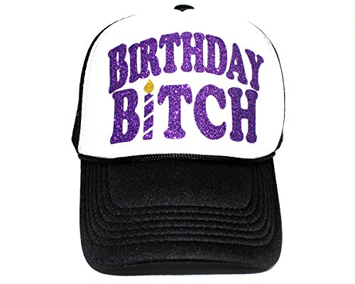 High Limit Birthday Bitch Candle Purple/White Trucker Hat with Purple Glitter ()