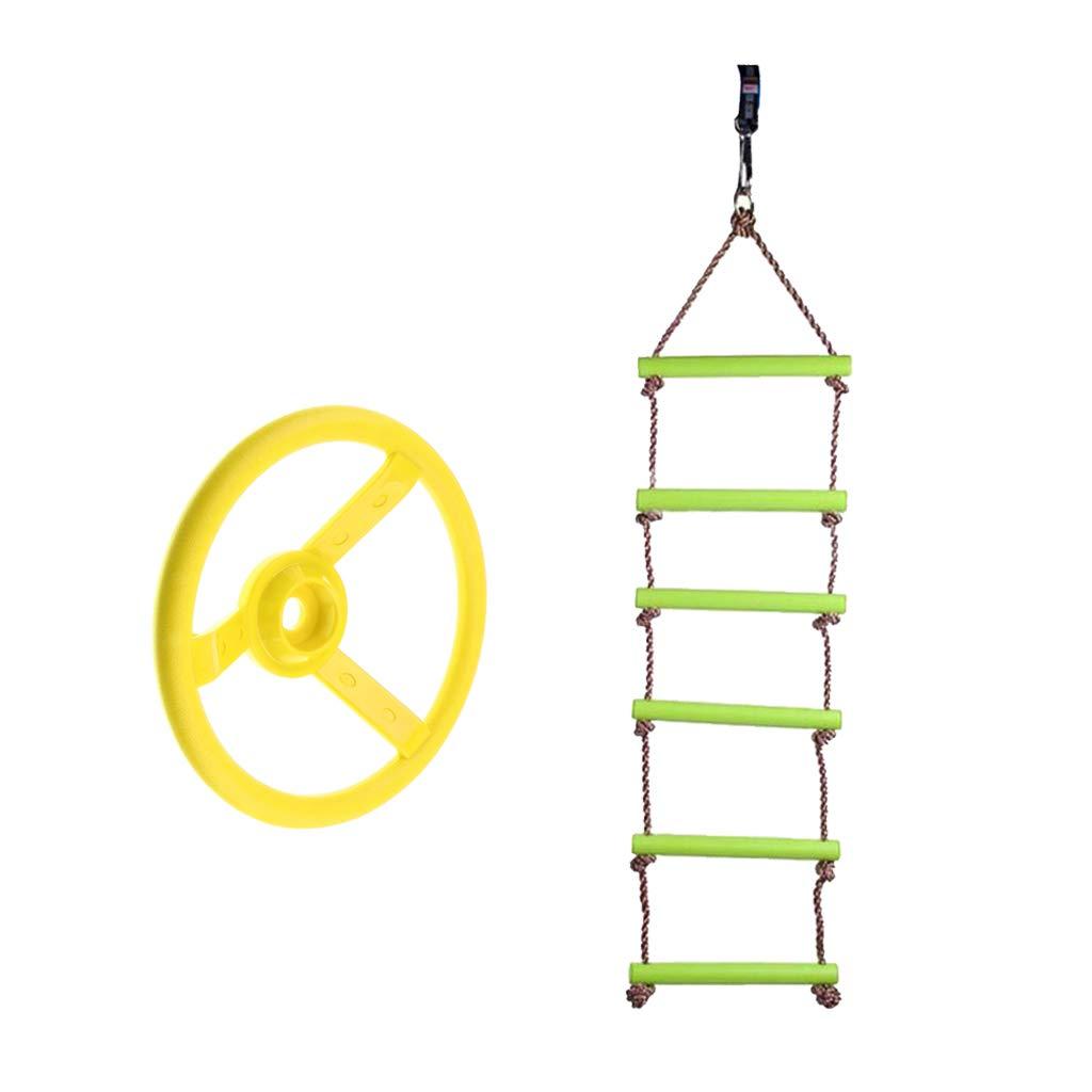 Sharplace Conjunto de Cuerda de Escalada + Volante de Columpio, Juego de Deporte al Aire Libre para Niños: Amazon.es: Juguetes y juegos