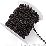 Gems-World Jewelry Natural Garnet Rondelle Beads Rosary Chain,5-6mm Black Plated Wire Wrapped Link.