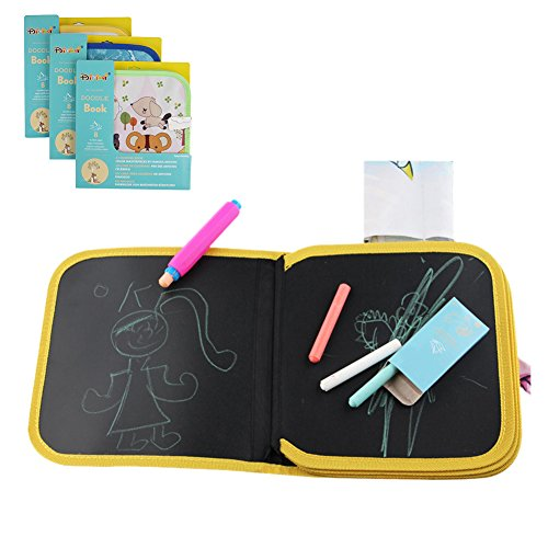 Leiyini Travel Doodle Mat Portable Drawing Board Children Mess Free Chalk Board Doodle & Drawing Book Early Educational Learning Toy Random Color (D)