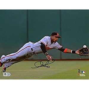 "Adam Jones Baltimore Orioles Autographed 8"" x 10"" Diving for Ball Photograph Fanatics Authentic Certified"