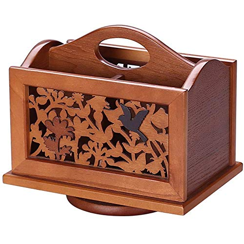 (Rotary remote control storage box/wooden vintage carved desktop sundries/Cell phone, Business Name Cards Remote Control Holder with Small (color : A))