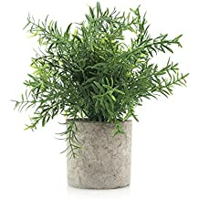 Velener Mini Potted Plastic Fake Green Plant for Home Decor (Bamboo Leaves)