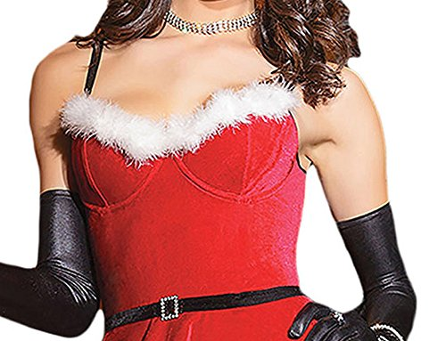 Elakaka Plus Size Soft Fur Trim Red Santa Teddy and Skirt Costume(Size,M) (Captain Caveman Costume)