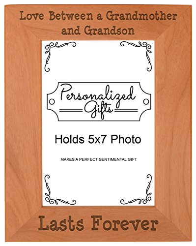 First Time Grandma Gifts Love Between a Grandmother and Grandson Lasts Forever Birthday Gifts Grandma Natural Wood Engraved 5x7 Portrait Picture Frame Wood