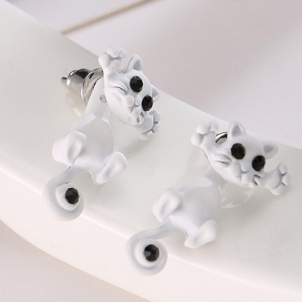 Winomo - Pendientes de tuerca con cristal, de estilo punk, con diseño de gato en 3D (color blanco)