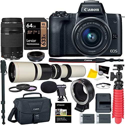 Canon M50 Mirrorless Camera Lens Bundle; 15-45mm is STM, 75-300mm III, 500mm, Lens Converter, T-Mount and Accessory Bundle