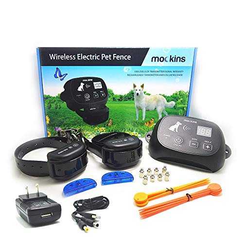 (Mockins Wireless Training Electric Pet Fence The Wireless Dog Fence Outdoor System is Safe for Pets with Waterproof Receiver Collar and a Large Control Range Up to 1600 Feet Perimeter - 2 Pack)