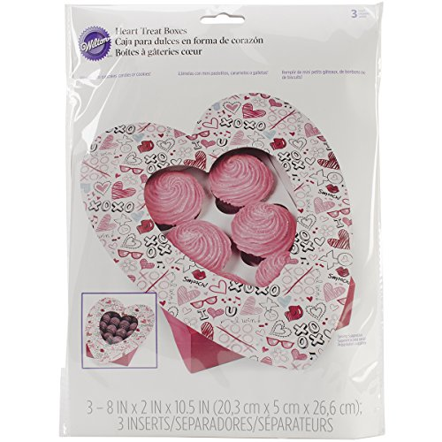 Wilton 415-2800 3 Count Valentine's Day Doodles Heart-Shaped Treat Boxes, Assorted