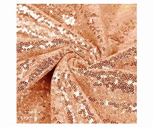 (ShiDianYi 6 Feet 2 Yards Rose Gold Sequin Fabric Bolt, by The Yard, 2 Way Stretch Mesh Sequin Fabric, Tablecloth, Linen. Table Runner)