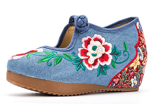 Embroidery Platform Floral Blue Shoes Jane Wedge Women AvaCostume Mary Oq5PUFUW