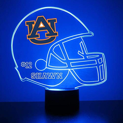 Mirror Magic Store Auburn Tigers Football Helmet LED Night Light with Free Personalization - Night Lamp - Table Lamp - Featuring Licensed Decal ()