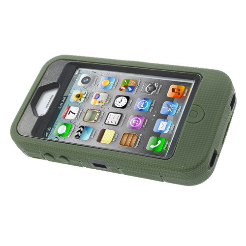 Apple iPhone 4 4S Outdoor Case Silikon Circular Armored Ring Stand Dunkel Grün