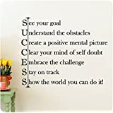 """28"""" Success See Your Goal Understand the Obstacles Create a Positive Mental Picture Clear Your Mind of Self Doubt Embrace the Challenge Stay on Track Show the World You Can Do It! Wall Decal Sticker Art Mural Home Décor Quote Lettering"""