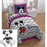 6pc Kids Mickey Mouse Themed Bedding Full Set, Chevron White Gray Love Pattern, Adorable Children, Cute Disney Mickey Mouse Comforter + Mickey Pillow Buddy