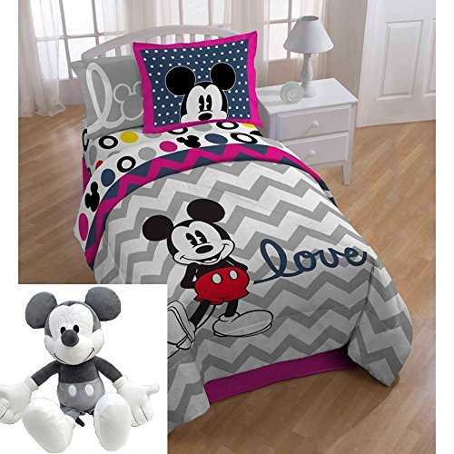 6pc Kids Mickey Mouse Themed Bedding Full Set, Chevron White Gray Love Pattern, Adorable Children, Cute Disney Mickey Mouse Comforter + Mickey Pillow Buddy by UNK